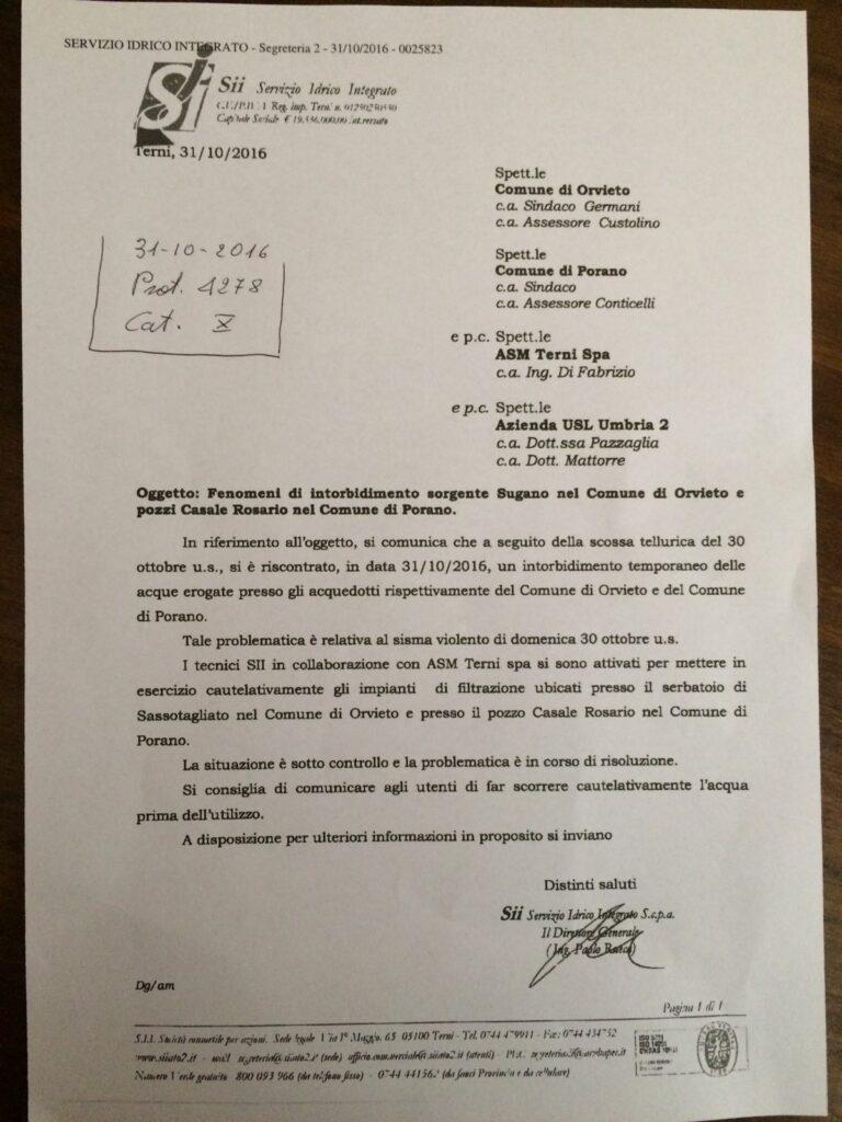 FENOMENO DI INTORBIDIMENTO POZZO CASALE ROSARIO