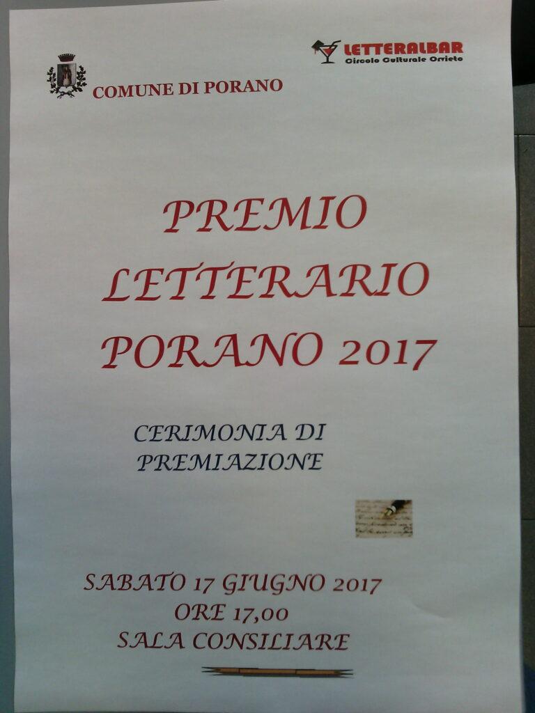 """CERIMONIA PUBBLICA DI PREMIAZIONE """"PREMIO LETTERARIO PORANO 2017"""""""