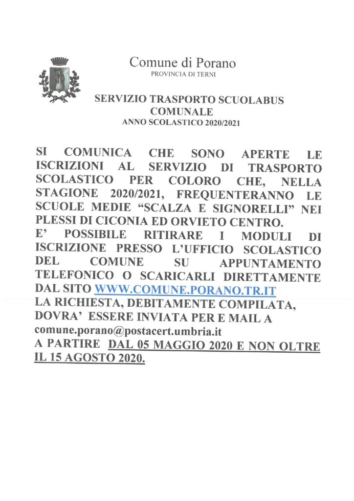 SERVIZIO TRASPORTO SCUOLABUS COMUNALE A.S. 2020/2021 – AVVISO