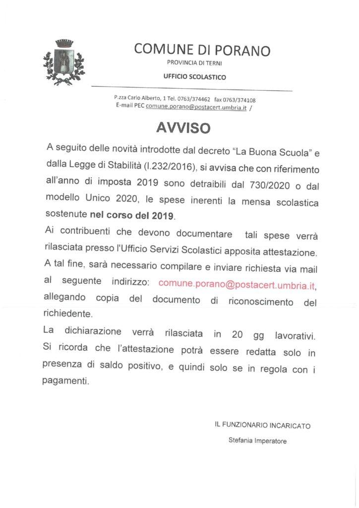 AVVISO INERENTE LA SPESA SCOLASTICA SOSTENUTA NELL'ANNO 2019