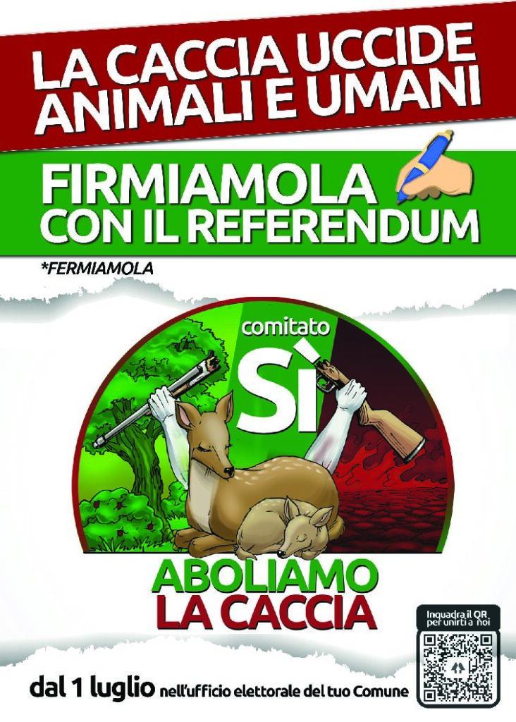 """RACCOLTA FIRME REFERENDUM """"ABOLIAMO LA CACCIA"""""""